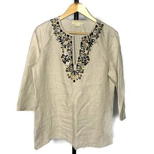 Michael Kors Tan Beaded V Neck Tunic Shirt